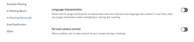 Interpretação de idiomas em reuniões e webinars – Zoom Centro de Ajuda