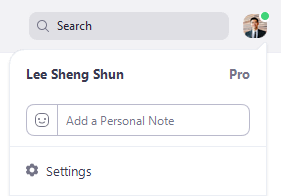 Settings Option under Profile Picture