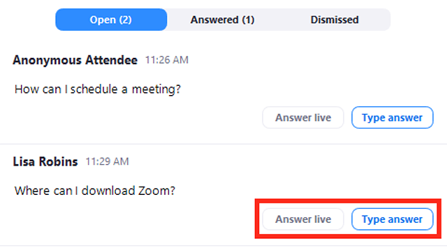 Getting started with Question & Answer – Zoom Help Center