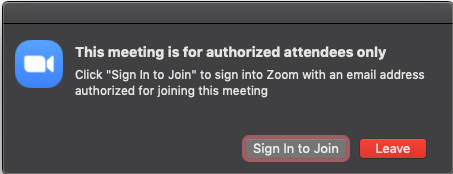 Meeting is unauthorized
