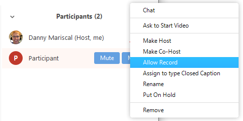 allow participant to record