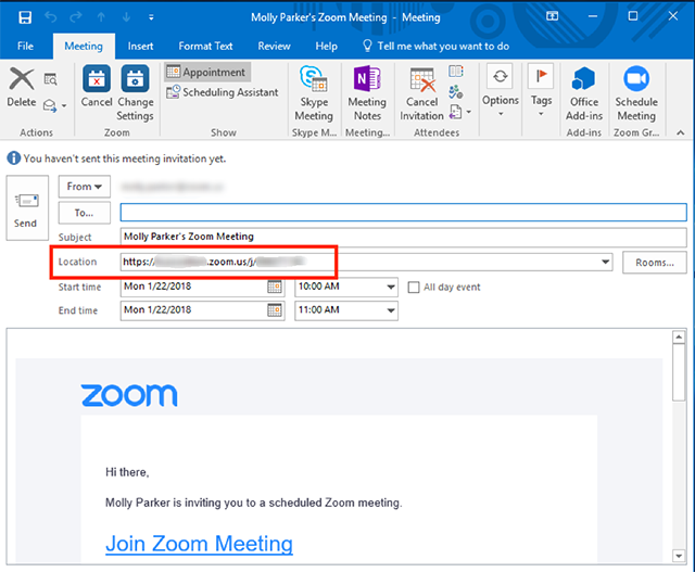 Schedule Meetings In Zoom Rooms Outlook Zoom Help Center