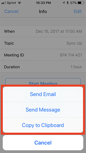 where can i find the meeting invitation text zoom help center