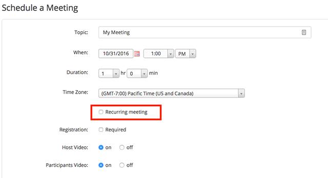 Scheduling Recurring Meetings – Zoom Help Center