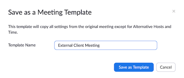Meeting Templates Zoom Help Center