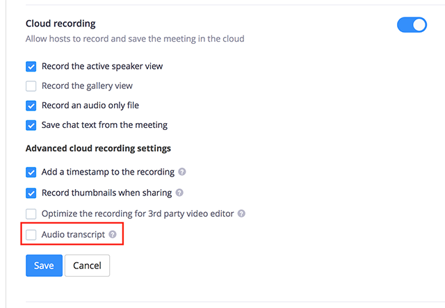 Automatically Transcribe Cloud Recordings – Zoom Help Center