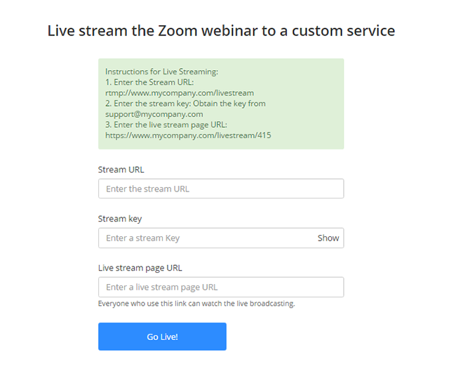 Live Streaming Meetings or Webinars Using a Custom Service – Zoom