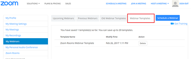 webinar templates zoom help center
