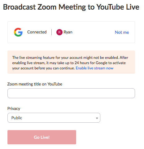 Streaming a Meeting on YouTube Live – Zoom Help Center
